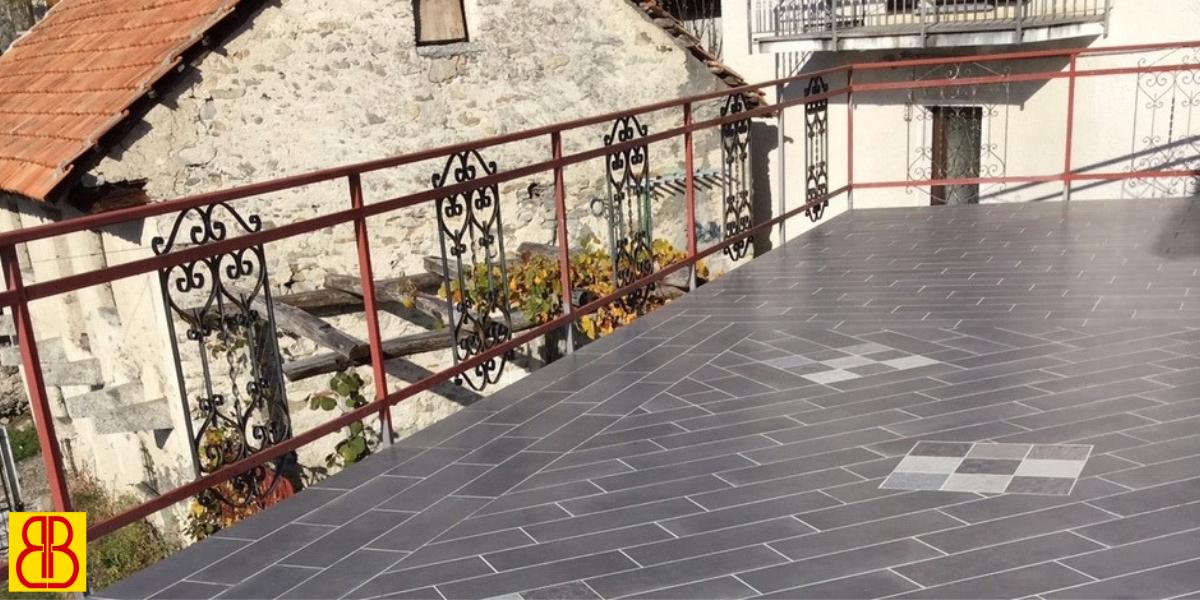 Terrazzo con gres porcellanato